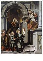 Il Moretto da Brescia1498-1554-De heilige Nicolaas van Bari presenteert Rovelio's- Postkaart