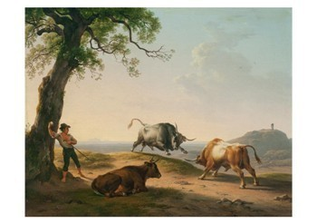 Hendrik Voogd (1768-1839) -Italiaans lanschap met vechtende stieren- Postkaart
