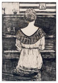 Paul Schultze (1893-1974) -Mies Elout achter de piano, z.j.- Postkaart