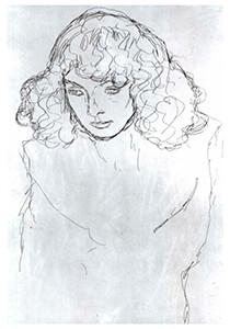 Gustav Klimt (1862-1918) -Girls head- Postkaart