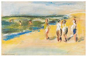 Max Liebermann(1847-1935) -Badende Am Strand- Postkaart