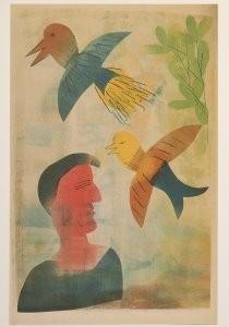 Hendrik Nic.Werkman (1882-1945-De taal der vogelen, proefdruk van de tweede serie- Postkaart