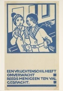 Fré Cohen (1903-1943) -Prentbriefkaart voor de Stadsreiniging Amsterdam,- Postkaart