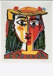 Pablo Picasso (1881-1973) -Dame met hoed- Postkaart