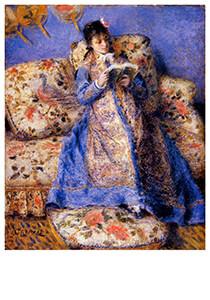 Auguste Renoir (1841-1919) -Camille Monet Reading- Postkaart