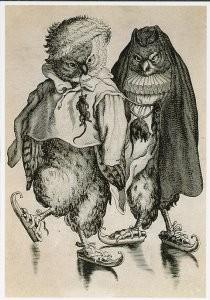 Abraham Bloemaert (1564-1651) -Twee uilen op schaats- Postkaart