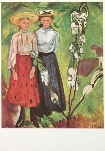 Edvard Munch (1863-1944) -Twee meisjes bij een bloeiende appelboom- Postkaart