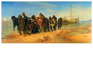 Ilya Repin (1844-1930) -Barge Haulers On The Volga 1870-73 / Wolgaslepers- Postkaart