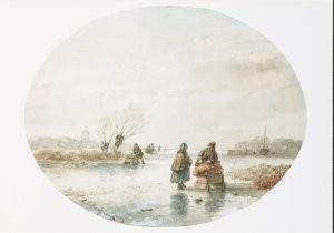 Andreas Schelfhout (1787-1870)-Winterlandschap- Postkaart
