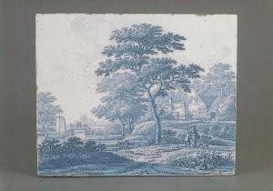 Frederik v Frijtom (1633-1692)-Plaque met landschap, Delft, 2e helft 17e eeuw- Postkaart