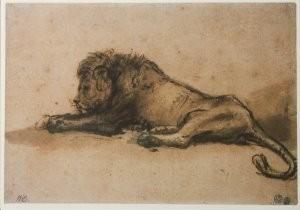 Rembrandt Van Rijn (1606/7-'69-Liggende leeuw- Postkaart
