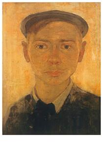 Jan Mankes(1889-1920) -Zelfportret met pet, 1908- Postkaart