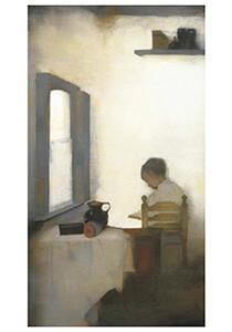 Jan Mankes(1889-1920) -Interieur met lezende jongen, 1911- Postkaart