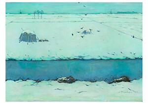 Jan Mankes(1889-1920) -Sneeuwlandschap met sloot, 1913- Postkaart