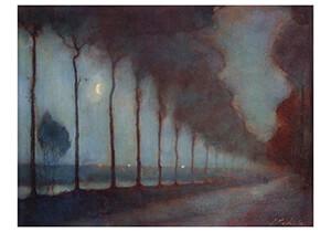 Jan Mankes(1889-1920) -Avondlandschap met maan, 1912- Postkaart