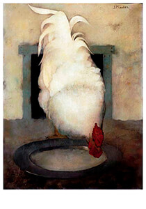Jan Mankes(1889-1920) -Haan (Wyandotte) met tinnen schotel, 1913- Postkaart