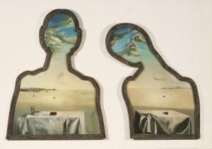 Salvador Dali (1904-1989) -Paar met hoofd vol wolken, Couple aux tetes pleine- Postkaart