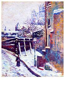 Maximilien Luce(1858-1941) -Montmartre, Snow Covered Street, 1897- Postkaart