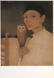 Jan Mankes (1889-1920) -Zelfportret met uil- Postkaart