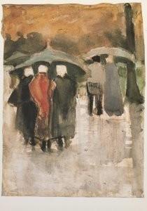 Vincent van Gogh (1853-1890) -Dans la pluie- Postkaart