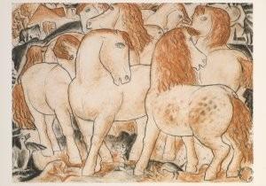 Leo Gestel (1881-1941) -Paardengroep- Postkaart