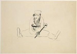 Marc Chagall (1887-1985) -Zittende man met viool, 1922- Postkaart