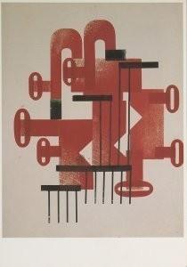 Hendrik Nic.Werkman (1882-1945-Compositie met letters J en O- Postkaart