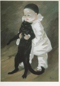 Theophile-Alexandre Steinlen -Pierrot et Chat, 1889- Postkaart