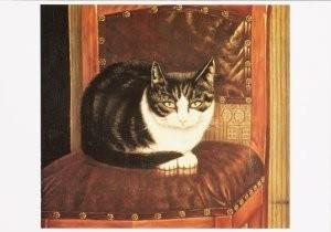Sal Meijer (1877-1965) -Poes op stoel- Postkaart