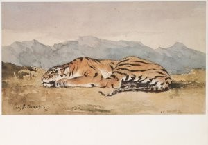 Eugene Delacroix (1798-1863) -Tiger, ca. 1830- Postkaart