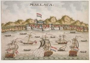 Anoniem, -Met de verovering van Malakka op de Portugezen kre- Postkaart