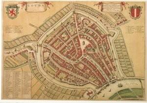 Joan Blaeu (1598-1673) -Plattegrond van Gouda- Postkaart