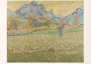 Vincent van Gogh (1853-1890) -Korenveld met boom in de bergen, 1889- Postkaart