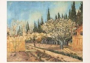 Vincent van Gogh (1853-1890) -Bloeiende boomgaard omgeven door cypressen, 1888- Postkaart