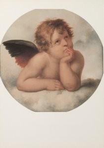 Paul Tetar van Elven 1823-1896-Kopie naar de Sixtijnse Madonna van Rafael (detail- Postkaart