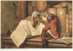 Auguste Allebe (1838-1927) -De ontsnapte apen, 1873- Postkaart
