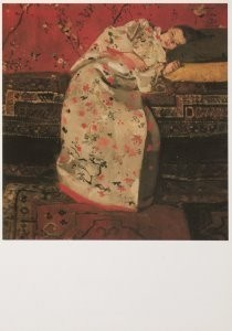 George H. Breitner (1857-1923)-Meisje in witte kimono / Girl in white kimono, 189- Postkaart