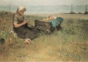 B. J. Blommers (1845-1914) -De twee zusjes- Postkaart