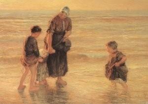 B. J. Blommers (1845-1914) -Zomeravond aan het strand- Postkaart