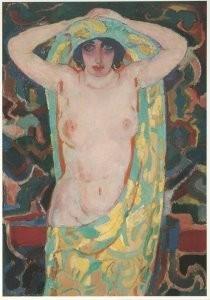 Jan Sluijters (1881-1957) -Halfnaakt, ca. 1912- Postkaart