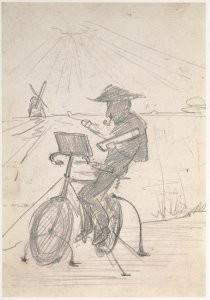 Simon Willem Maris (1873-1935)-Mondriaan op de fiets- Postkaart