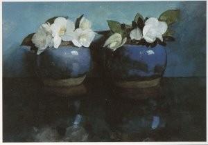 Jan Voerman sr. (1857-1941) -Witte Azalea's in blauwe gemberpotjes- Postkaart