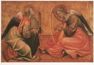 Anoniem, -Twee musicerende engelen- Postkaart
