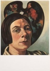 Charlie Toorop (1891-1955) -Zelfportret tegen palet, 1934- Postkaart