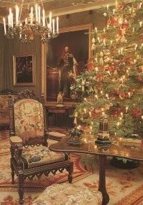 -Kerstboom in salon koning Willem II- Postkaart