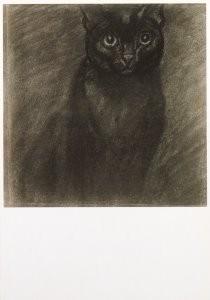 Theophile-Alexandre Steinlen -Sitting black cat- Postkaart