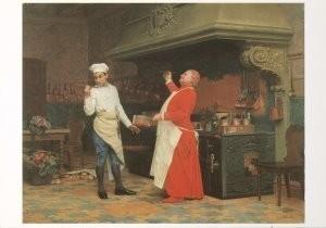 Jehan Georges Vibert(1840-1902-The Marvelous Sauce- Postkaart