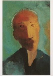 Hendrik Nic.Werkman (1882-1945-Mannenkop met dun grijs haar, 1943- Postkaart