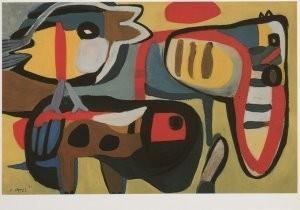 Karel Appel (1921-2006) -Optocht der dieren, 1951- Postkaart