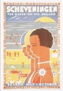 Louis C. Kalff (1897-1976) -Affiche voor Zeebad scheveningen, 1930- Postkaart